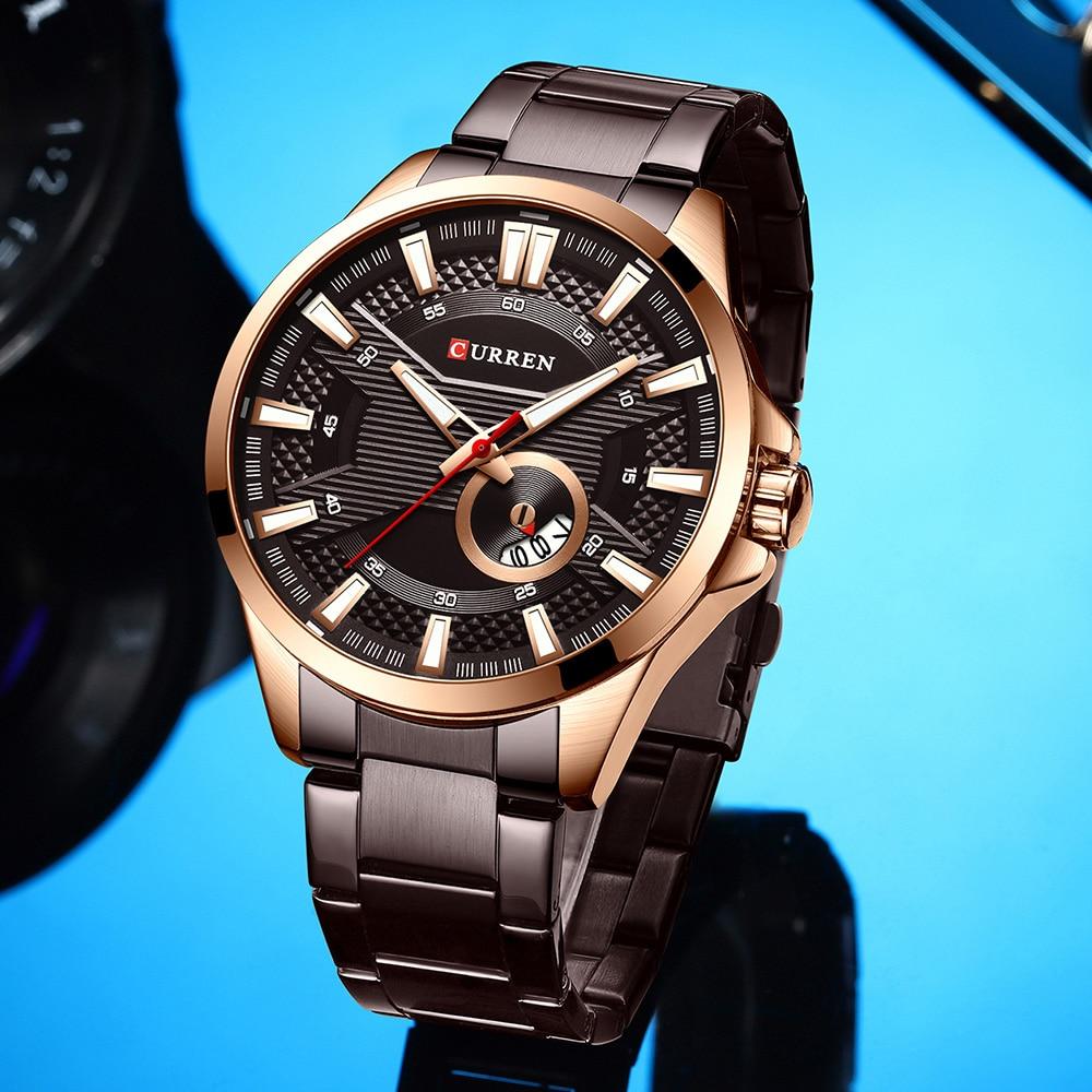 H5bee7d62defa444d845dab009a7be179n New Stainless Steel Quartz Men's Watches Fashion CURREN Wrist Watch Causal Business Watch Top Luxury Brand Men Watch Male Clock