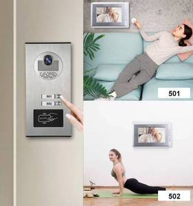 "Image 4 - ฟรีSHIPP 7 ""LCDประตูวิดีโอโทรศัพท์ระบบอินเตอร์คอมRFID Accessกล้องกลางแจ้งสำหรับ2 Family Apartmentจัดส่งฟรี"