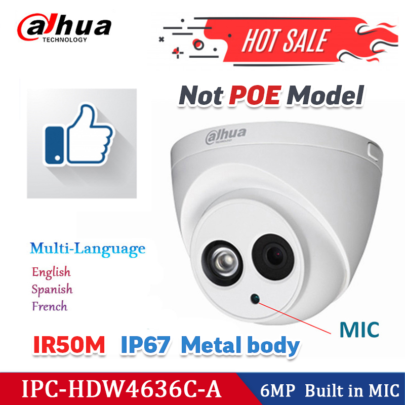 Dahua Security IP Camera HDW4636C-A 6MP  Built-in MIC 4MP Dome CCTV Camera HDW4438C-A 2MP 1080HD Starlight Sensori Night Vision