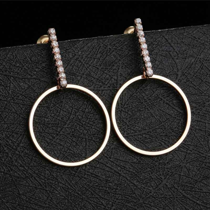MIGGA minimalisme grand cercle boucles d'oreilles pour femmes couleur or Rose Micro pavé cubique Zircon bijoux