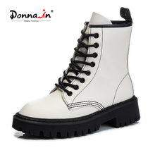 Female Shoes Platform-Boots Chunky-Boots Lace-Up Autumn White Genuine-Cow-Leather Women