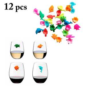 Sign Glass-Marker Drinking-Cup Wine Identifier Silicone 12pcs Party-Cup Marine-Animals