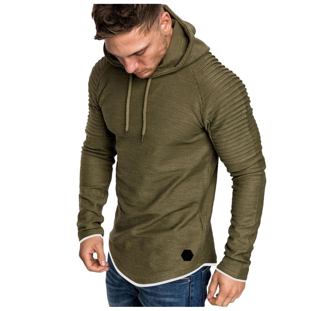 H5beed2b3ead34e10946d17cd56571901D Men Hoodies Sweatshirts 2019 Autumn Pleats Slim Fit Raglan Long Sleeve Hoodie Tops Men Solid Hoodie Pullover Men Outerwear Tops