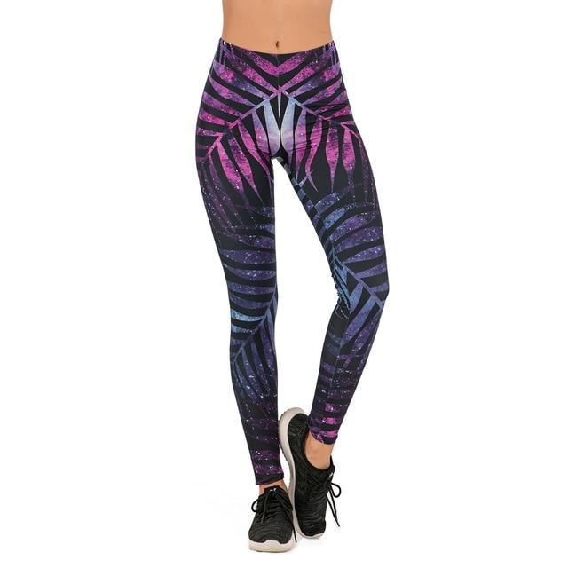 Brands Women Fashion Legging Fluorescent tree branch Printing leggins Slim High Waist Leggings Woman Pants 2