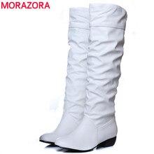 MORAZORA 큰 사이즈 2020 신품 도착 무릎 높이 여성 부츠 블랙 화이트 브라운 플랫 힐 부츠 봄 가을 여성 신발