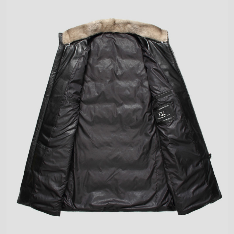 2020 Genuine Leather Jacket Men Winter Sheepskin Coat Mens Real Mink Fur Collar Down Jackets Cuero Genuino 61I7023 YY292