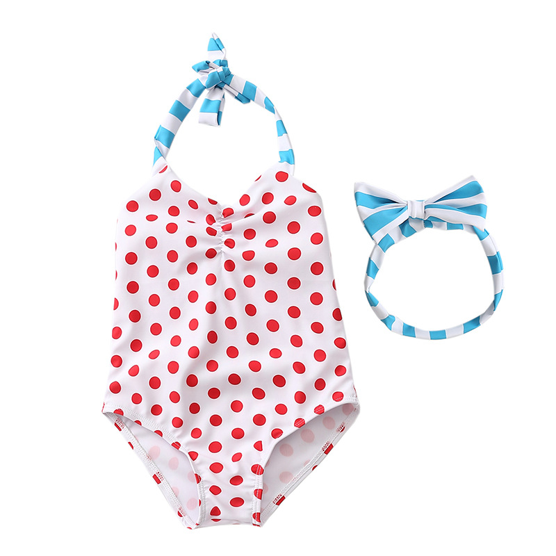 KID'S Swimwear Women's Princess One-piece INS South Korea Infant Baby GIRL'S Polka Dot Tour Bathing Suit Cute GIRL'S Swimsuit