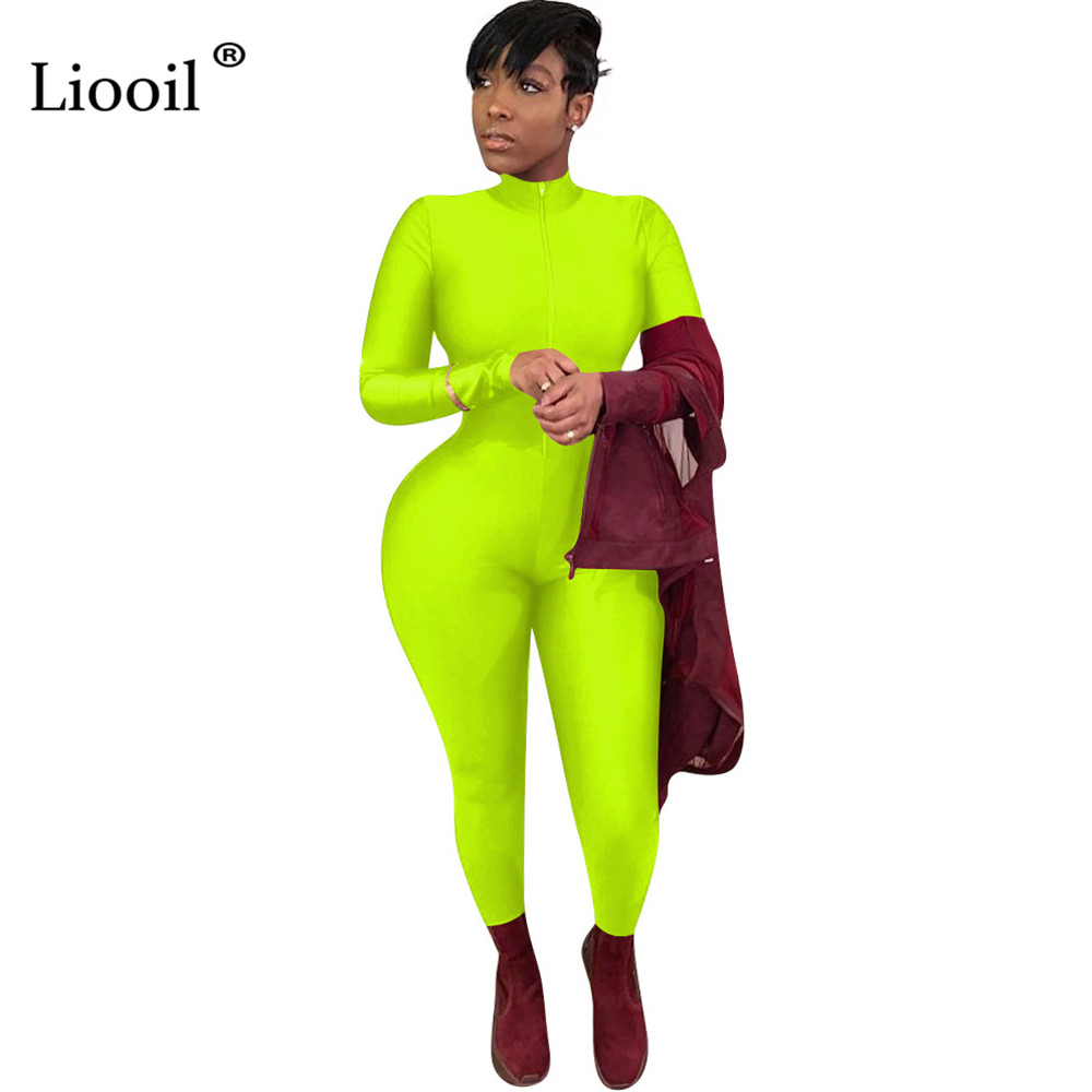 Liooil Neon <font><b>Green</b></font> Zip Up Tight <font><b>Sexy</b></font> <font><b>Jumpsuits</b></font> 2019 Long Sleeve O Neck Bodycon Party Club Rompers <font><b>Womens</b></font> <font><b>Jumpsuit</b></font> Black Overalls image