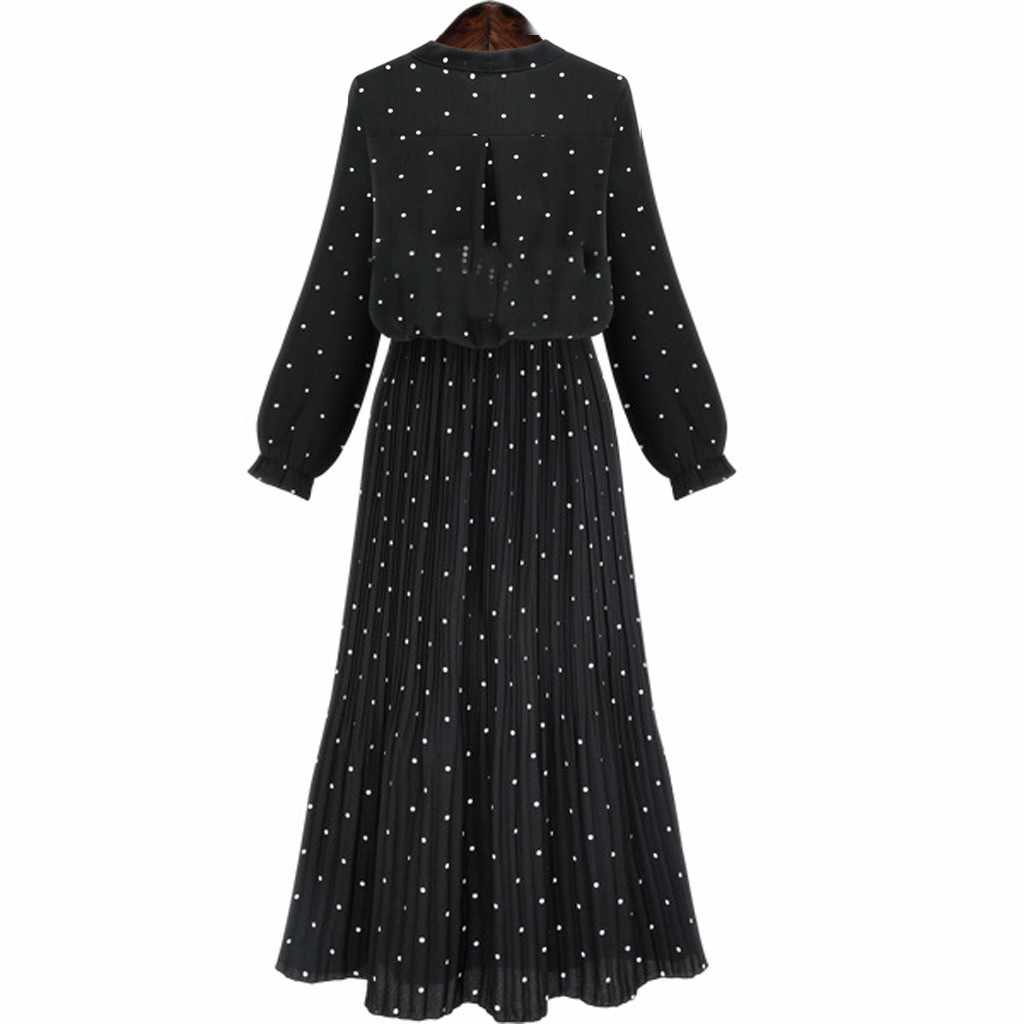 Black Pleated Dress Women Casual Polka Dot Loose Pullover Long Sleeve Long O-neck Thin Long Maxi Dresses Female New 2020 Vestido