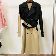 Designer Coat Wind-Breaker BELTED Outer-Wear Patchwork Trench Winter Women's Fall High-Street