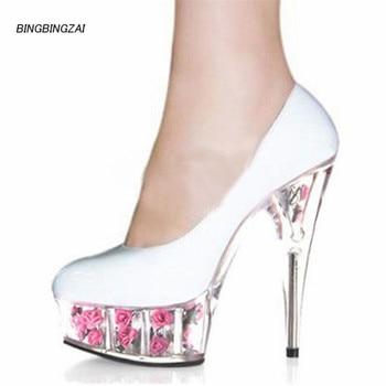 BBZAI New pattern High Quality sexy Nightclub Super high heel Women's shoes 15cm Crystal Thin Heels Waterproof 5CM 34-45 46