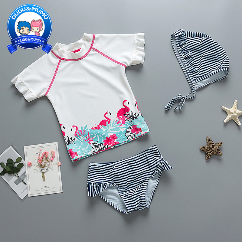CHILDREN'S Bikini Bathing Suit Stripes Girls Flamingo Two-piece Swimsuits Girls Infants Spa Resort Swimwear