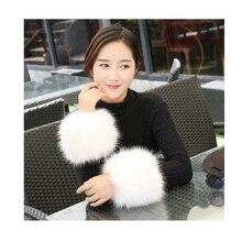 Gloves Cuff-Wristband Oversleeve Warmmer Winter Women New Plush DW28 Fur-Decor Faux-Fox-Fur