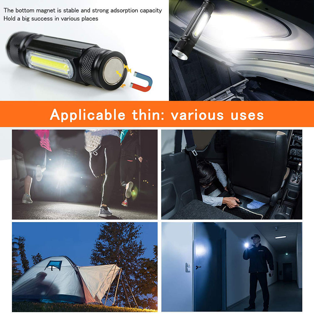 Купить с кэшбэком USB Rechargeable LED Flashlight Bicycle Light Side light design + Tail magnet design Multi-function Zoomable Torch For camping