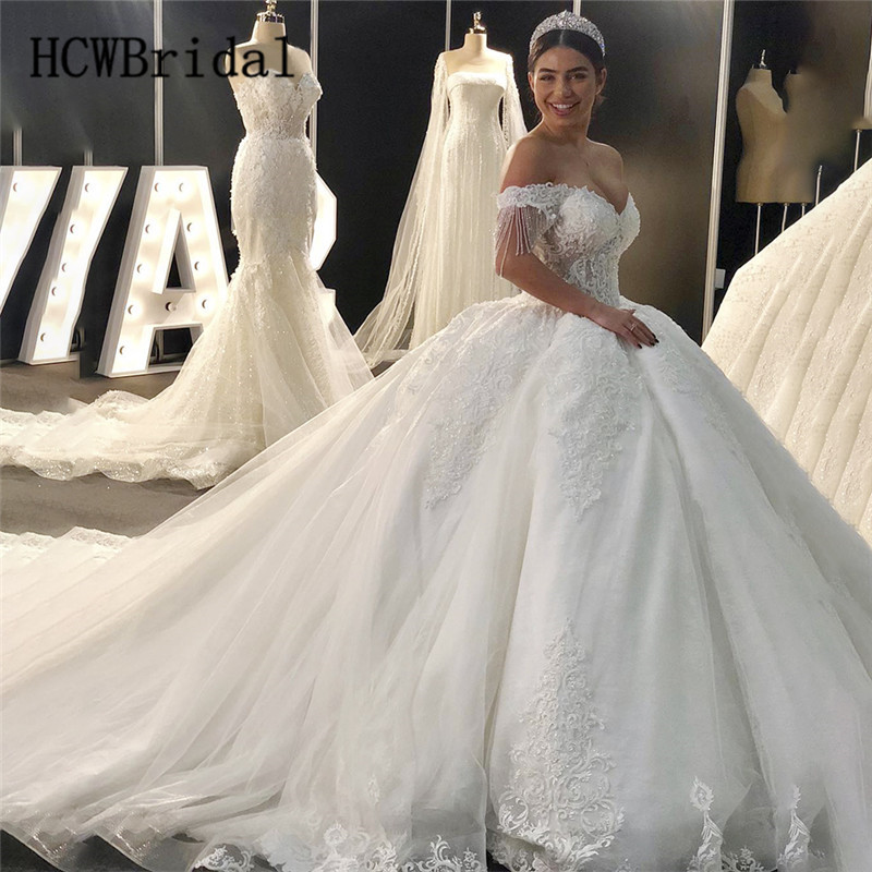 2019 Luxury Dubai Princess Wedding Dresses Beading Lace Sweep Train Off The Shoulder Puffy Bridal Dress Customize Robe De Mariee