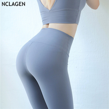 NCLAGEN Women Yoga Pants Pure color Nylon Workout Bodybuilding High Waist Butt Lifting Squat Proof Fitness Leggings Breathable