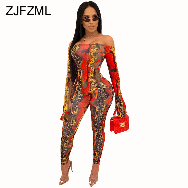 Snake Skin Print Sexy Rompers Womens Jumpsuit Off Shoulder Open Back Bodycon One Piece Playsuit Club Skinny Long Sleeve Bodysuit