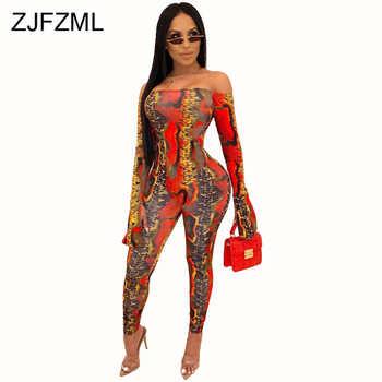Snake Skin Print Sexy Rompers Womens Jumpsuit Off Shoulder Open Back Bodycon One Piece Playsuit Club Skinny Long Sleeve Bodysuit snake skin print strapless bodysuit