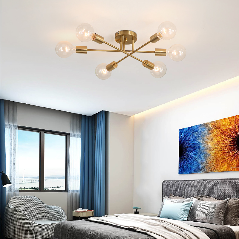 Plafonnier moderne monté en surface pour salle à manger chambre cuisine île lustre Rose or noir couleur spoutnik lustre