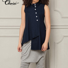 2020 Celmia Sleeveless Asymmetrical Female Tops Womens Blouses Summer Vintage Shirts Casual Loose Buttons Office Party Blusas