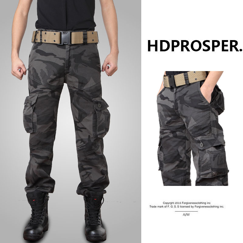 Men Camo Multi Pocket Trouser Tactical Cargo Pants Male Tactical Pant Military Casual Jogger Camouflage Army Baggy Clothing