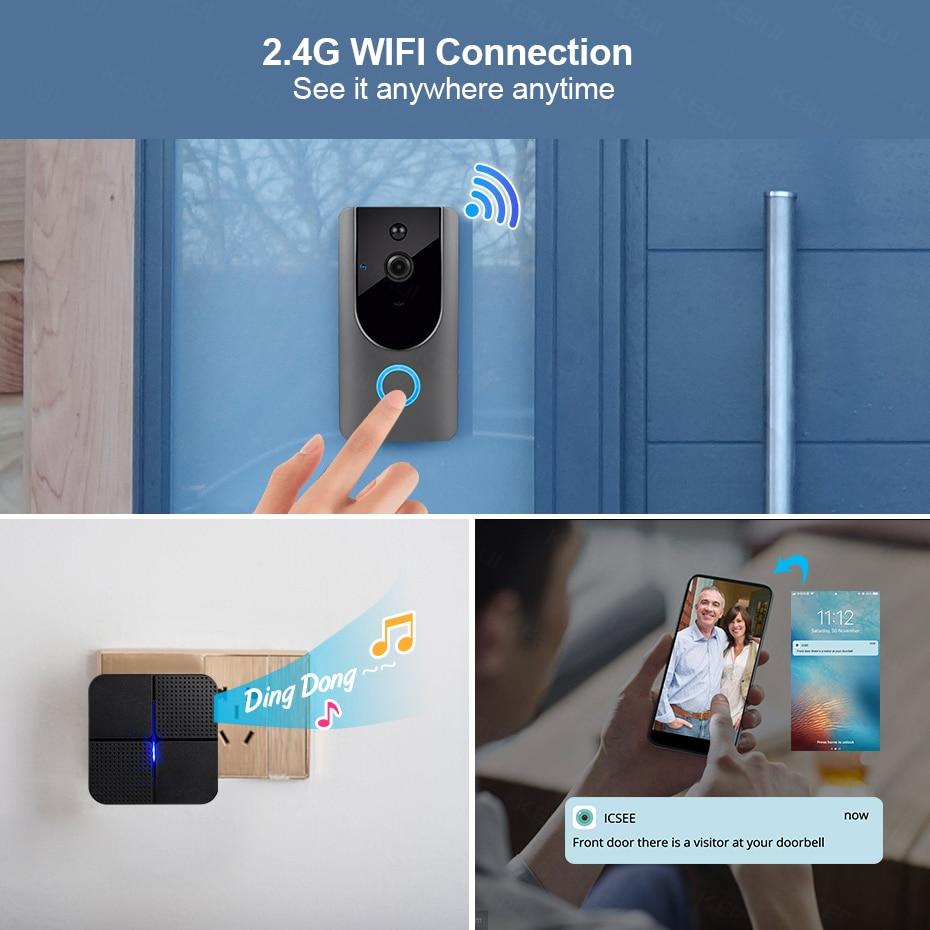 KERUI Wifi Doorbell Camera Intercom-System Wireless Night-Vision Two-Way Audio-Visible
