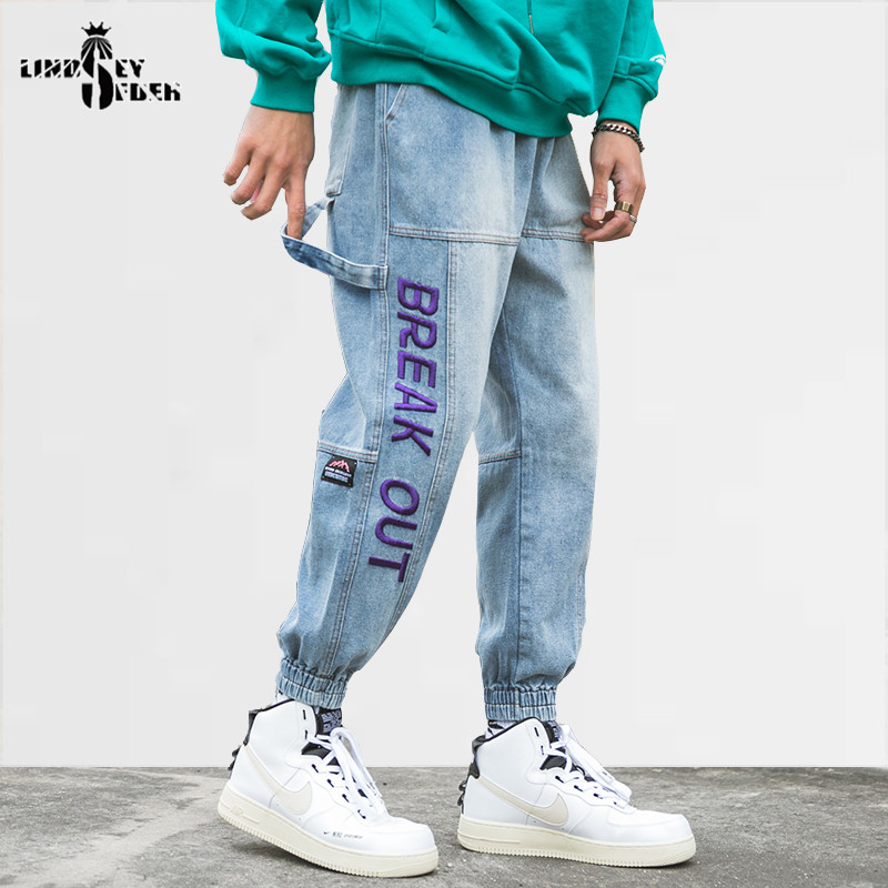 Lindsey Seader Hiphop Denim Cargo Pants Jeans Pockets Men Harajuku Streetwear Joggers Pant Jeans Letters Trousers Men Fashion