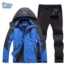 TRVLWEGO мужская зимняя куртка тепловой водонепроницаемый Рыбалка брюки куртки походы кемпинг походы на лыжах восхождение на открытом воздухе размер 6XL костюм