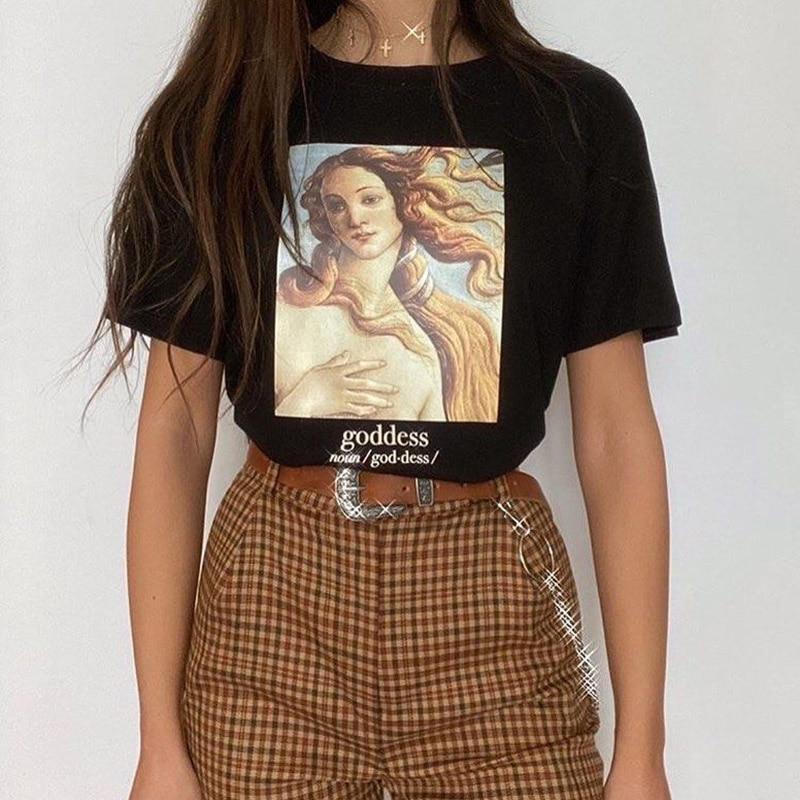 Новинка Harajuku эстетика женская футболка богиня АРТ ПРИНТ короткий рукав Топы И Футболки модная повседневная футболка женская одежда футболки|Футболки|   | АлиЭкспресс