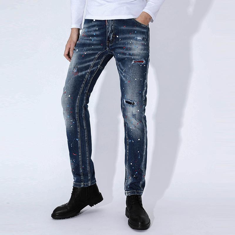 New Skinny Jeans Men Torn Ripped Jeans For Men Painting Elastic Stretch Slim Pants Clothes Hip Hop Streetwear Spring Autumn Blue