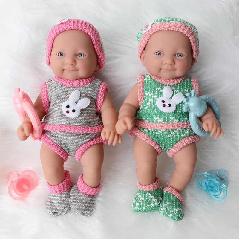 25 ซม.สมจริงBebe Rebornตุ๊กตากันน้ำจำลอง 10 นิ้วเต็มรูปแบบซิลิโคนทารกแรกเกิดตุ๊กตาเสื้อผ้าชุดสำหรับของเล่นเด็ก