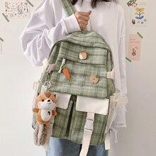Large Capacity Korean Lovely Girl Backpack 2021 New Female Student Schoolbag Japanese Canvas Preppy Style Plaid Travel Bag Women