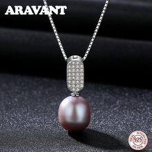 925 Sterling Silver Pave Zircon Freshwater Pearl Pendant Necklace Chain Wedding Pearl Necklace Jewelry Accessories недорого