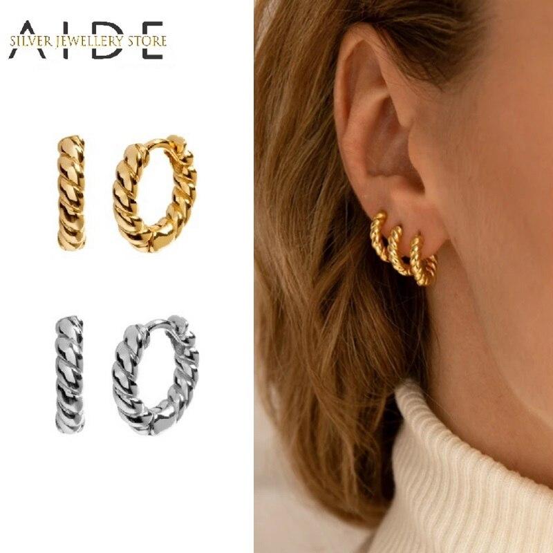 AIDE 925 en argent Sterling géométrique spirale torsion ronde boucles doreilles pour les femmes à la mode 10mm Piercing boucles doreilles Fine bijoux kolczyki