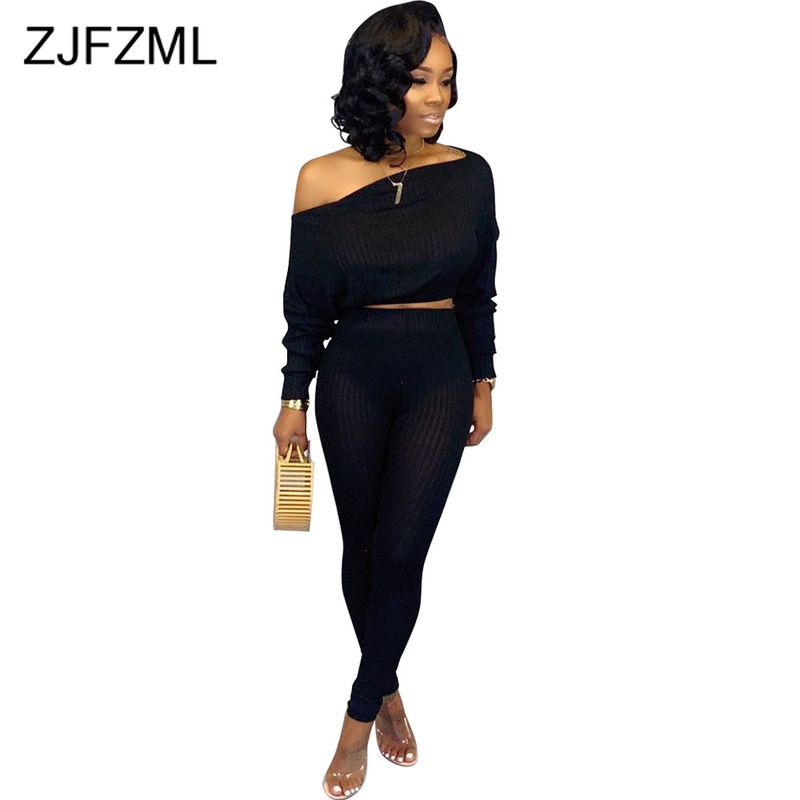 Causal Solid Plus Size Two Piece Tracksuits Women Set Cold Shoulder Full Sleeve Crop Top + Long Pants Female 2 Pcs Set Suits