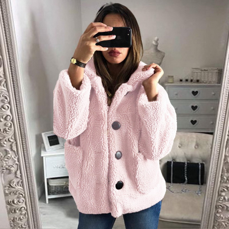 HEFLASHOR Women's Plush coat autumn winter Women Button Jacket Casual Warm turndown collar fur Outwear Mid-Length Woolen jackets 15