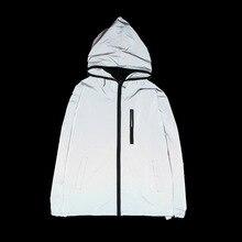Пара уличной одежды на молнии с капюшоном Светоотражающая светится в темноте блестящая куртка женская верхняя одежда размера плюс большие WD-181