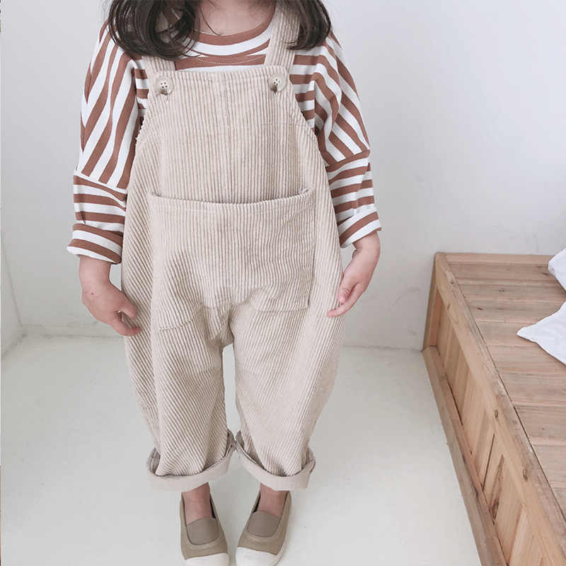 2020 New Children Toddler Boys Kids Solid Overalls Suspender Trousers Casual Corduroy Baby Bib Pants Solid Outwear 9M-5T
