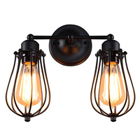 Promotion! Retro Industrial Edison Simplicity Antique Wall Lamp with Metal Grapefruit shade Black