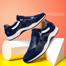 2020 Fashion Men's Casual Leather Shoes Plus Mesh Surface Breathable Sneakers Shoes Men Non-slip Male Leather Business Footwear vsen hot male mesh surface breathable movemalet casual shoes