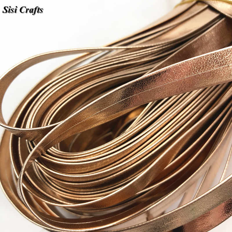 Sisi 工芸品テープ 1 センチメートルローズゴールド革リボンフェイク pu フラットコード階層化バイアス diy 毛の弓ハンドメイドアクセサリートリム 1 メートル