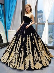 Prom-Dresses Maternity-Floor-Length Golden Ball-Gown Sequined Dubai Sparkly Abendkleider