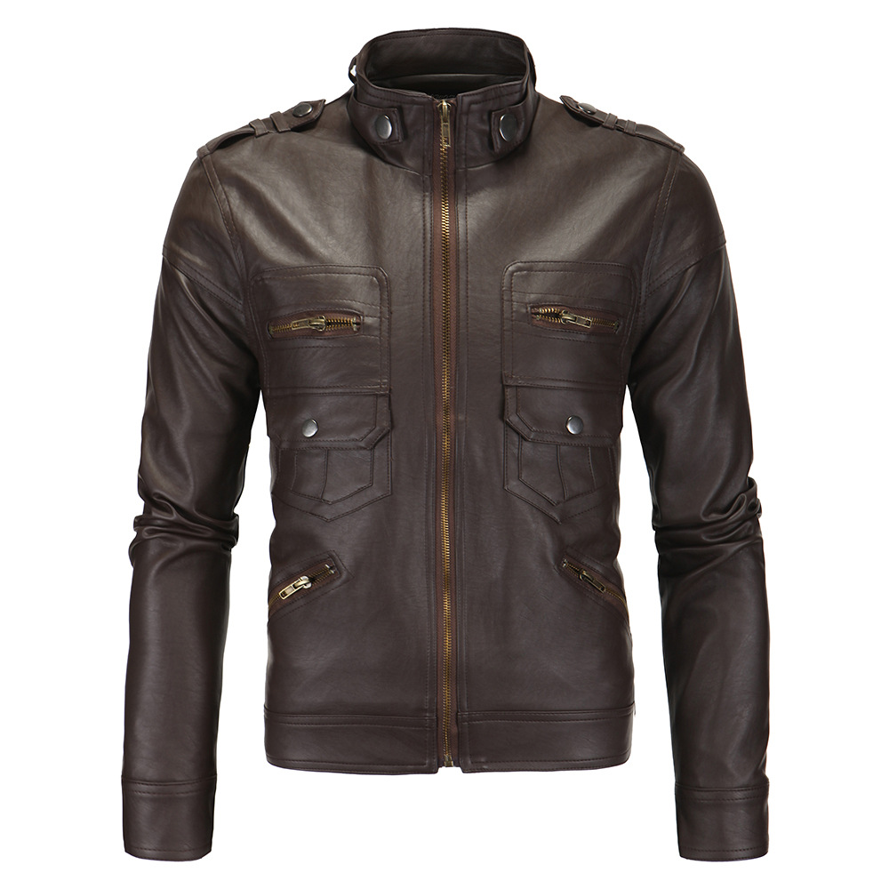 Aowofs New Style Men'S Wear Hot Selling Men's Leather Jacket British-Style Stand-up Collar Leather Coat Jacket Boutique Xy102
