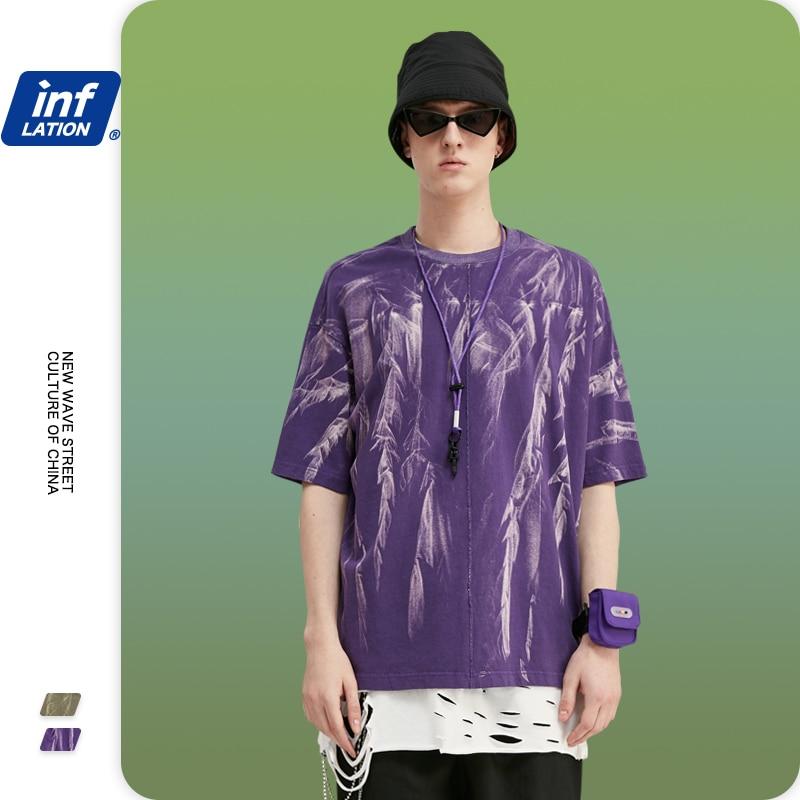INFLATION Men Tie Dye 2020 Summer T Shirt Short Sleeve Men Cotton Tie Dyed Tshirt Streetwear Urban Men Oversized Tshirt 1118S20