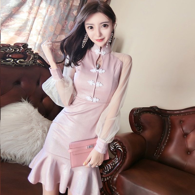 2020 Chinese Dress Qipao Sexy Nightclub Cheongsam Lingerie Lace Perspective Sleeve Fishtail Dress Mandarin Collar Bodycon Qi Pao