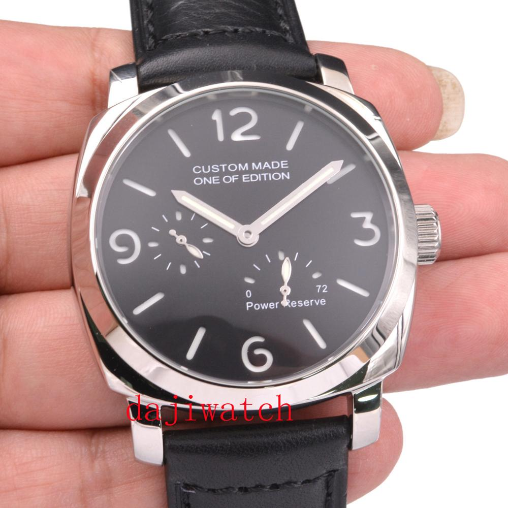 44mm parnis Black men watch Luminous sandwich dial <font><b>ST2530</b></font> automatic mechanical mens watch image