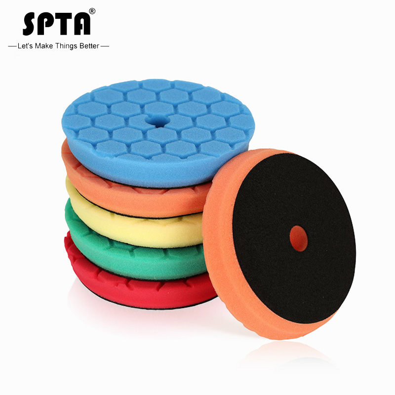 (Bulk Sales 1)SPTA 6Inch(150mm) Hex-Logic Mix Hardness Cut Polishing Pads & Buffing Pads For RO/DA/GA Dual Action Car Polisher