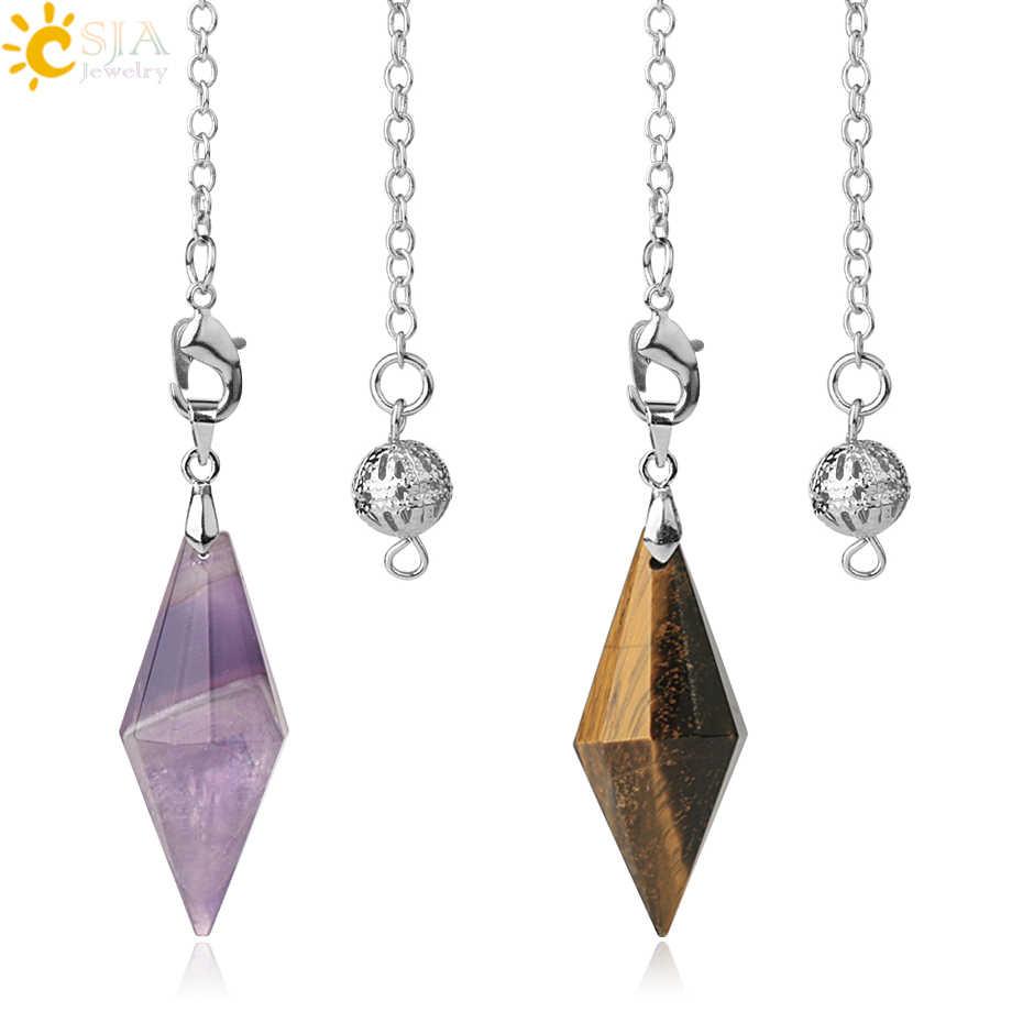 CSJA Natürliche Steine Pendel für Radiästhesie Faceted Polygon Healing Spitzen Kristall Pyramide Anhänger Amulett Divination Pendule G418