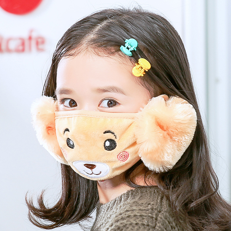 2 In 1 Bear Earmuffs Kids Mouth Mask Windproof Mouth-Muffle Anti Dust Winter  Children Anti Haze Flu Cotton Face Cover