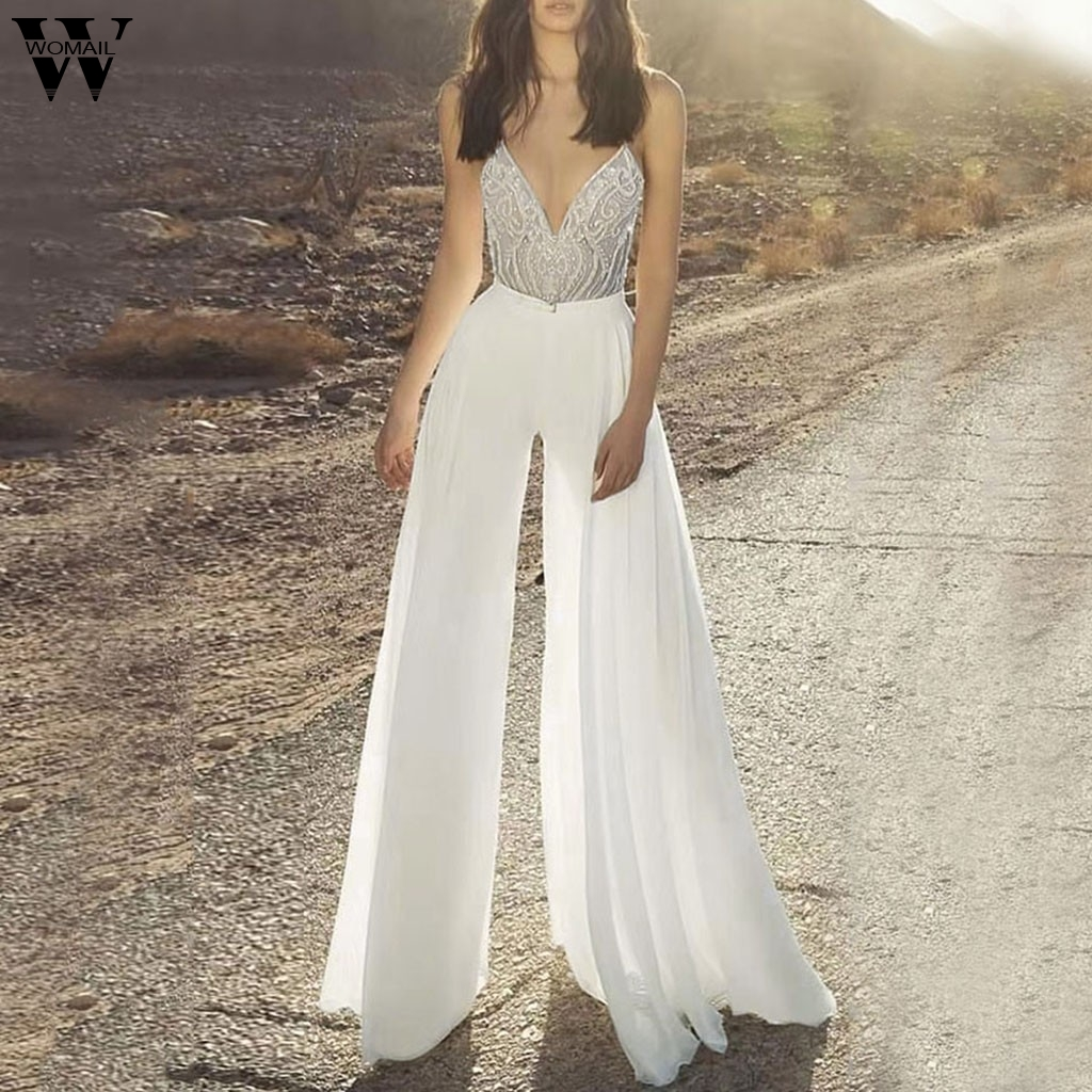 Womail Jumpsuit Women Spaghetti Strap Sequin Backless Jumpsuit Sexy Sleeveless White Long Wide Leg Jumpsuit Summer Elegant Party
